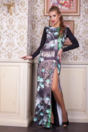 Инди платье Долорес д/р. Цвет: принт-черная отделка