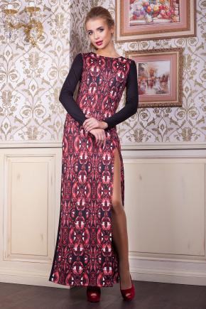 Рубины платье Долорес д/р. Цвет: принт-черная отделка
