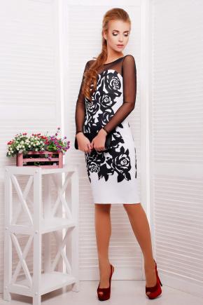 Черные розы платье Донна д/р. Цвет: белый