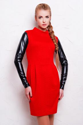 платье Даниель д/р. Цвет: красный коса-черная кожа