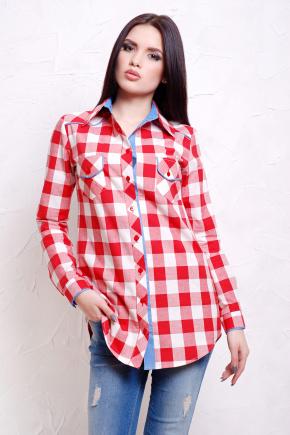 блуза Канзас д/р. Цвет: красн.-бел.клетка-джинс