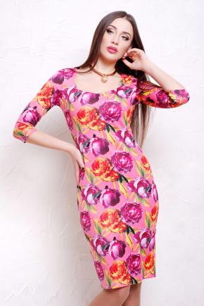 Пионы 2 платье Вики д/р. Цвет: принт