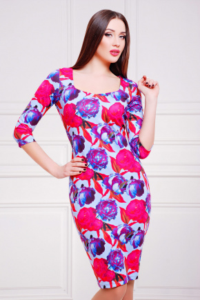Пионы 3 платье Вики д/р. Цвет: принт