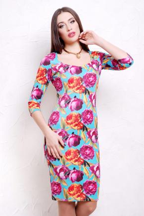 Пионы 4 платье Вики д/р. Цвет: принт