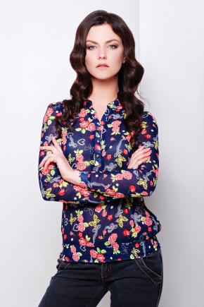 блуза Весна д/р. Цвет: т.синий-корал-розы