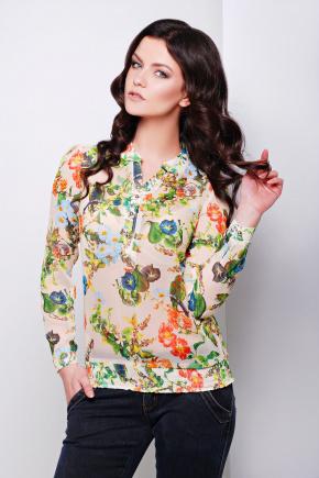 блуза Весна д/р. Цвет: бежевый-цветы