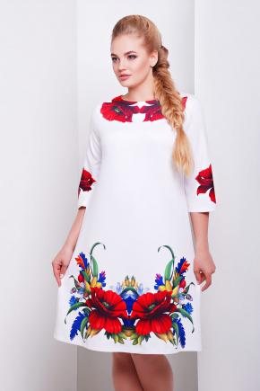 Маки платье Тая-3Б д/р. Цвет: белый