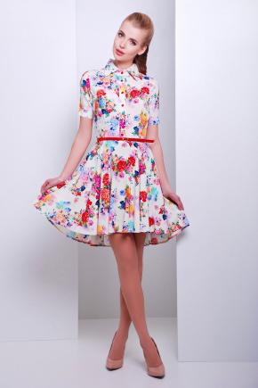 платье Розмари к/р. Цвет: молоко-букет