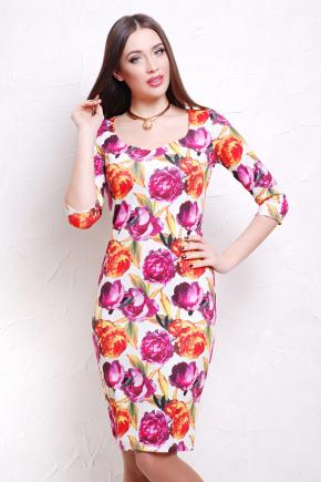 Пионы 1 платье Вики-Д д/р. Цвет: принт