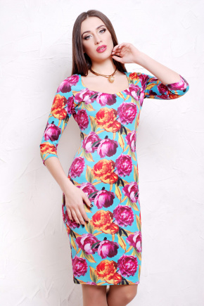 Пионы 4 платье Вики-Д д/р. Цвет: принт