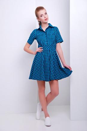 платье Джеки к/р. Цвет: бирюза-черная клетка