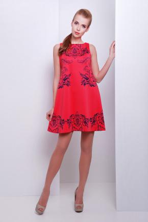 Узор синий платье Лада б/р. Цвет: принт-коралл отделка