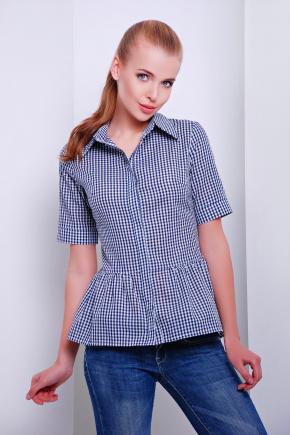 блуза Доминика к/р. Цвет: т.синий-м.клетка