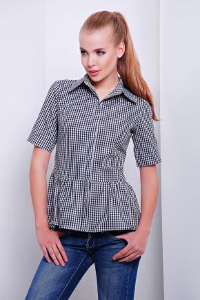 блуза Доминика к/р. Цвет: черный-м.клетка
