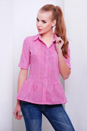 блуза Доминика к/р. Цвет: т.розовый-м.клетка