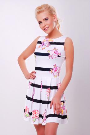 Цветы-полоска платье Мия-1 б/р. Цвет: принт