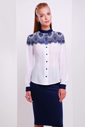 Кружево синее блуза Есения д/р. Цвет: принт