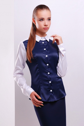 блуза Мориса д/р. Цвет: т.синий-белый