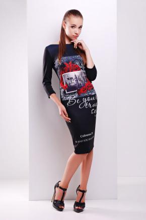 Colourno 19 черный платье Лоя-2Ф д/р. Цвет: принт
