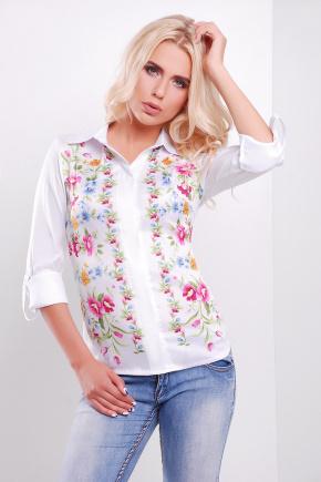 Полевые цветы блуза Ларси д/р. Цвет: белый