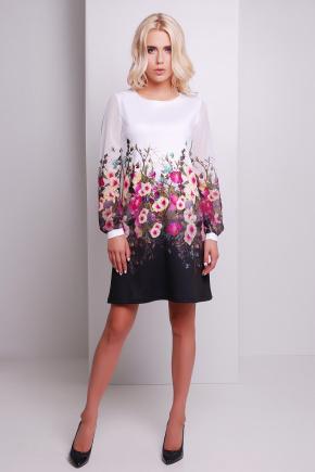 Мальвы сиреневый платье Тана-1Ф (шифон) д/р. Цвет: принт