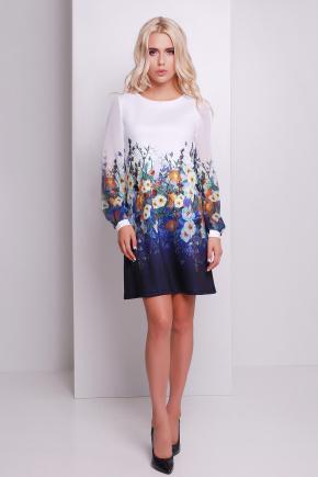 Мальвы синий платье Тана-1Ф (шифон) д/р. Цвет: принт