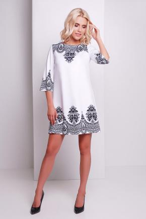 Узор черный платье Тая-3 д/р. Цвет: белый