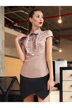блуза Каролина2  к/р. Цвет: бежевый-белая отделка