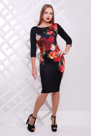Розы платье Лоя-3Ф д/р. Цвет: принт