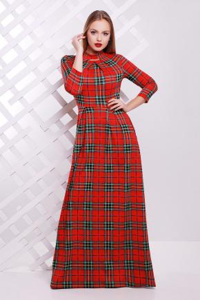 платье Шарлота д/р. Цвет: красный-зеленая клетка