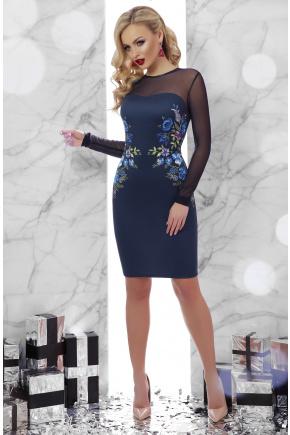 Вышивка платье Донна2 д/р. Цвет: синий