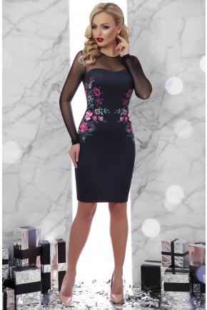 Вышивка платье Донна2 д/р. Цвет: черный