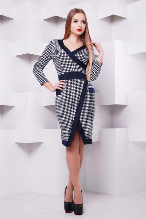 платье Августа д/р. Цвет: лапка-синяя отделка