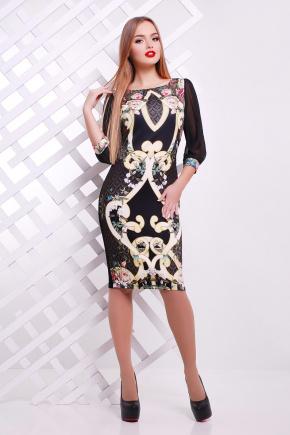 Золотой узор платье Лоя-2Ф (шифон) д/р. Цвет: черный