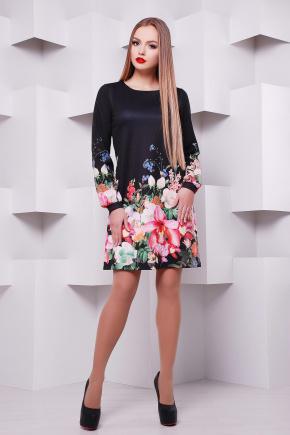 Черный букет платье Тана-1Ф (креп) д/р. Цвет: принт