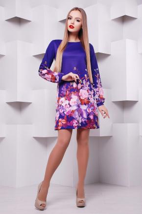 Фиолетовый букет платье Тана-1Ф (креп) д/р. Цвет: принт