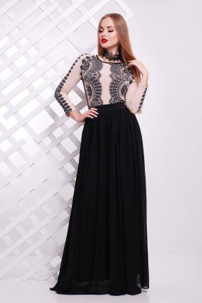 Кружево черное платье Памония д/р. Цвет: бежевый