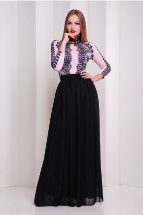 Кружево черное платье Памония д/р. Цвет: пудра