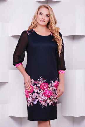 Цветочная композиция платье Талса-1Б д/р. Цвет: принт