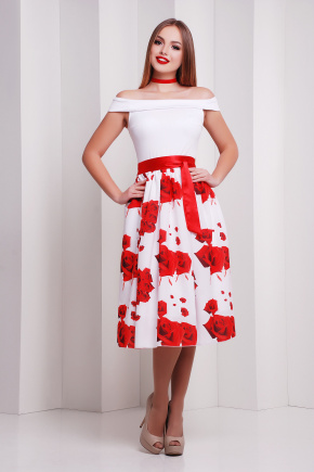Розы красные платье Эмми б/р. Цвет: принт