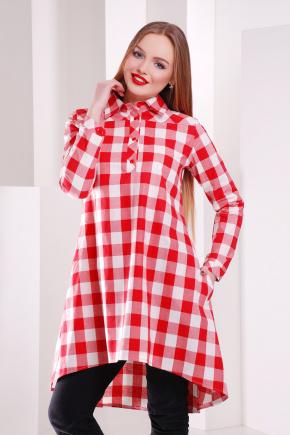 платье-рубашка Танзана д/р. Цвет: красный-б.квадрат