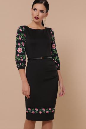 Цветы-орнамент платье Андора д/р. Цвет: черный