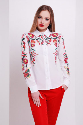 Вышивка-бабочка блуза Верина-3 д/р. Цвет: принт