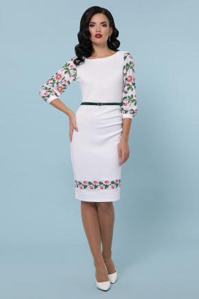 Цветы-орнамент платье Андора д/р. Цвет: белый