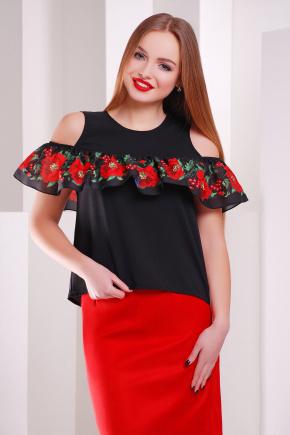 Маки-калина блуза Марелина б/р. Цвет: черный