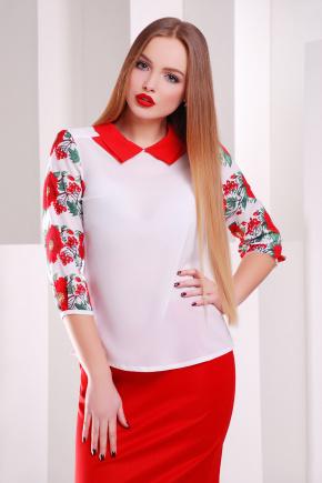 Маки-калина блуза Тамила2 д/р. Цвет: белый