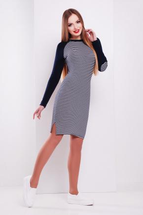 платье Белана д/р. Цвет: полоска-т.синяя отделка