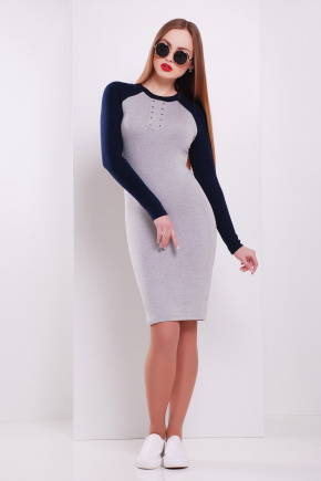 платье Верона д/р. Цвет: св.серый-т.синий