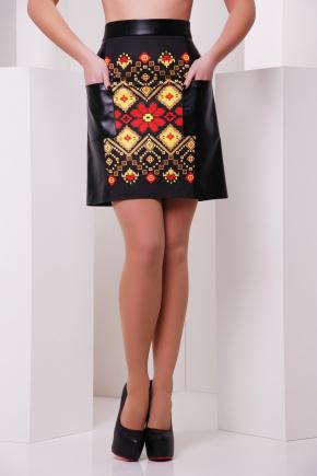 Красно-желтый орнамент юбка мод. №23 (кожа). Цвет: принт