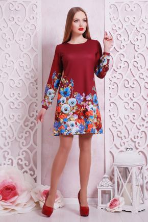 Фиалки платье Тана-1Ф (креп) д/р. Цвет: бордовый